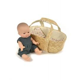 Koszyk tkany wiklinowy gondola dla lalek Minikane