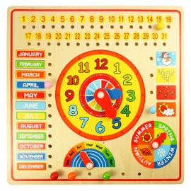 Drewniany kalendarz i zegar edukacyjny, Bigjigs