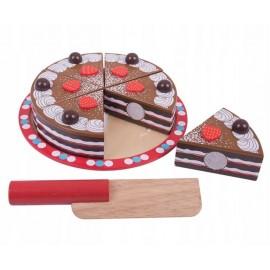 Drewniany czekoladowy tort do krojenia, Bigjigs