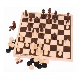 Drewniane szachy i warcaby -zestaw gier, Bigjigs