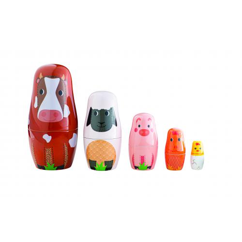 Farm animal russian dolls