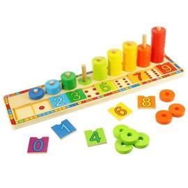 Nauka liczenia drewniana układanka edukacyjna