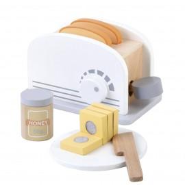 Drewniany toster z zestawem śniadaniowym