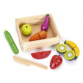 Drewniane owoce  i warzywa skrzynce bananowy mix