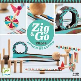 Kulodrom drewniany tor dla kulek, 28 elementów Zig & Go, Djeco
