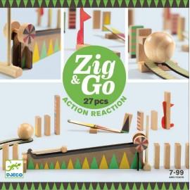 Kulodrom drewniany tor dla kulek, 27 elementów Zig & Go, Djeco