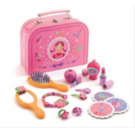Drewniane kosmetyki i biżuteria, walizka małej damy, Djeco