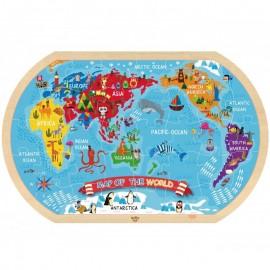 Drewniane Puzzle Mapa Świata, Tooky Toy