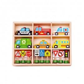 Drewniane pojazdy i znaki drogowe - zestaw, Tooky Toy