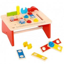 Drewniany stół warsztatowy z narzędziami, Tooky Toy