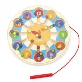 Drewniana gra edukacyjna, zegar magnetyczny -Viga Toys