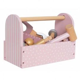 Drewniana skrzynia z narzędziami różowa