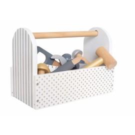 Drewniana skrzynia z narzędziami srebrna