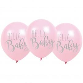 Balony różowe Hello Baby - zestaw 6 szt