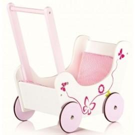 Drewniany wózek dla lalek, pchacz- kwiatki