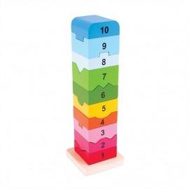Rozkładana wieża z klocków z liczbami