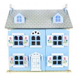 Drewniany domek dla lalek - alpejska willa niebieska