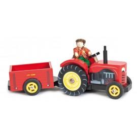 Drewniany traktor z przyczepą, Le Toy Van