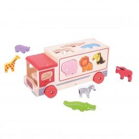 Sorter ciężarówka ze zwierzętami safari Bigjigs