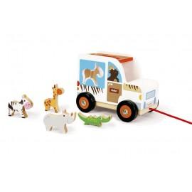 Drewniany sorter samochód ze zwierzakami safari do ciągnięcia, Scratch