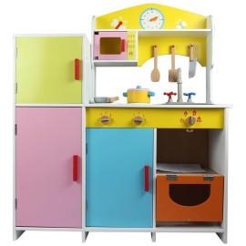 Duża kolorowa drewniana kuchnia dla dzieci