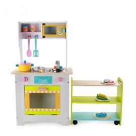 Drewniana kuchnia dla dzieci w pełni wyposażona