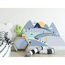 Naklejki ścienne góry niebieskie  L 180 x 90 cm