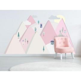 Naklejki ścienne góry różowe  L 180 x 90 cm