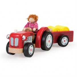 Drewniany traktor z przyczepką Tidlo