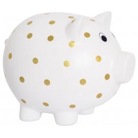 Duża skarbonka świnka w złote kropki