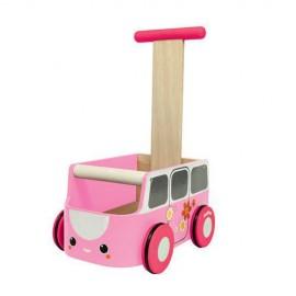 Drewniany chodzik różowy van - Plan Toys