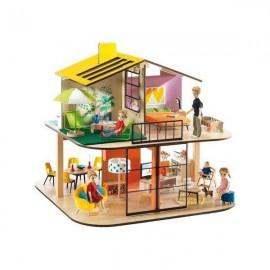 Drewniany domek dla lalek KOLOROWY DOM DJECO