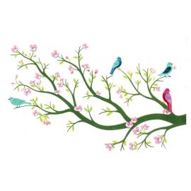 Naklejka ścienna 3D kwitnąca wiśnia i ptaki, Djeco