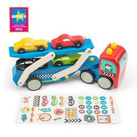 Drewniana laweta samochodowa z naklejkami Le Toy Van