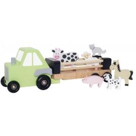 Drewniany traktor ze zwierzętami Jabadabado