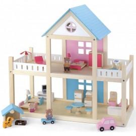 Drewniany domek dla lalek,mebelki i lalki  VIGA