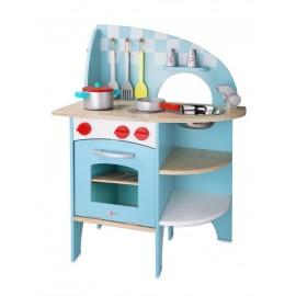 Drewniana kuchnia niebieska z akcesoriami, Classic World