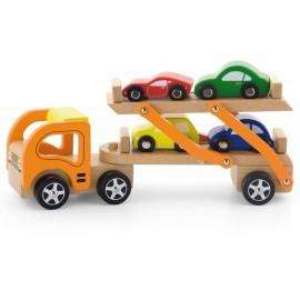Drewniana laweta z czterema samochodami, Viga