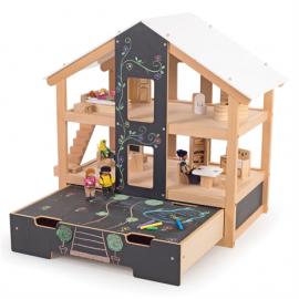 Nowoczesny drewniany domek z wyposażeniem, Tidlo