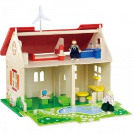 Drewniany domek dla lalek - wyposażony Viga