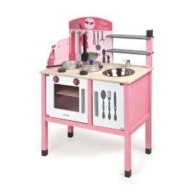 Drewniana różowa kuchnia z wyposażeniem
